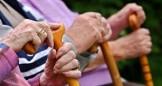 mani di anziani impugnano il bastone
