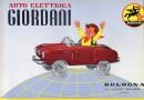 Catalogo Giordani degli anni 1950 con in copertina l'auto elettrica del 1955