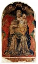 Giovanni da Modena, Madonna con Bambino e due angeli, pittura murale, Carpi, Chiesa di San Francesco