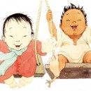 illustrazione tratta da: Dieci dita alle mani, dieci dita ai piedini, Mem Fox, Helen Oxenbury, Il castoro, 2009