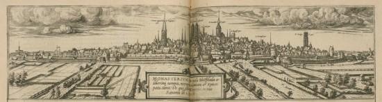 La città di Münster, in: Georg Braun, Civitates orbis terrarum. Liber primus, Colonia, Gottfried Kempen, 1588.