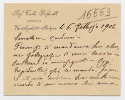Lettera di Golfarelli a Carducci su cartoncino intestato