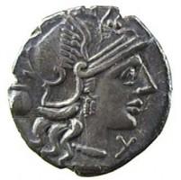 Denario in argento di Sesto Pompeio (dritto)