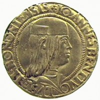 Double gold ducat, from Bologna's mint. Giovanni II Bentivoglio
