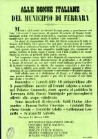 """Invito a partecipare alla sottoscrizione rivolto """"Alle donne italiane del Municipio di Ferrara"""""""
