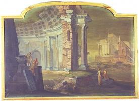Vittorio Maria Bigari e Pietro Paltronieri detto il Mirandolese, Veduta di rovine con tempio, acquisizione, 2001, Collezioni Comunali d'Arte