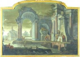 Vittorio Maria Bigari e Pietro Paltronieri detto il Mirandolese, Veduta di rovine con monumenti allegorici, acquisizione, 2001, Collezioni Comunali d'Arte