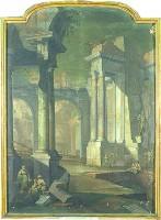 Vittorio Maria Bigari e Pietro Paltronieri detto il Mirandolese, Veduta di rovine con statua di guerriero, acquisizione, 2001, Collezioni Comunali d'Arte