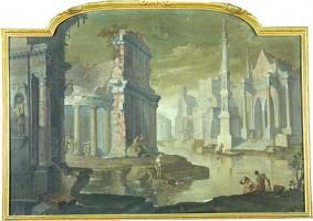 Vittorio Maria Bigari e Pietro Paltronieri detto il Mirandolese, Veduta di rovine con chiesa gotica, acquisizione, 2001, Collezioni Comunali d'Arte