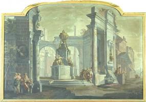 Vittorio Maria Bigari e Pietro Paltronieri detto il Mirandolese, Veduta di rovine classiche, acquisizione, 2001, Collezioni Comunali d'Arte