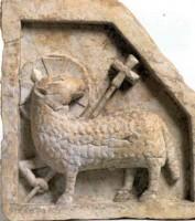 Maestro Campionese (?) Formella con l'Agnus Dei (2), deposito dal Complesso Conventuale di Santa Cristina, 1997, incontri & arrivi 5, Museo Civico Medievale