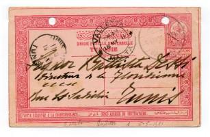 Cartolina postale turca spedita da Djebel Garbi (Libia) e diretta a Tunisi