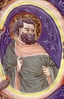 Cristoforo Cortese, Pagina miniata con Santo Apostolo, dono del Centro Commerciale Vialarga,1998, incontri & arrivi 5, Museo Civico Medievale