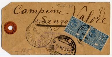 Etichetta di pacco spedito da (La Valletta) Malta e diretto a Palermo