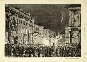 Follini-Cornaglia, Bologna- Dimostrazione avanti il Palazzo Municipale, alloggio delle loro Maestà, 5 novembre 1878