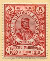 Francobollo emesso in Italia in occasione del Cinquantenario del Risorgimento in Sicilia e del Plebiscito nell'Italia Meridionale