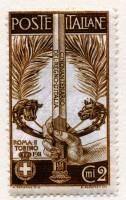 Francobollo emesso in occasione del Cinquantenario dell'Unità d'Italia e per le Esposizioni celebrative di Roma e Torino