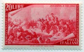 Francobollo raffigurante l'insurrezione di Bologna, emesso in occasione del Centenario della prima Guerra di indipendenza