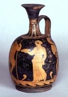 Lèkythos ariballica campana a figure rosse