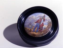 Giuseppe Garibaldi sullo sfondo della città di Roma