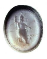 Agata stratificata con figura di Serapide