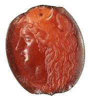 Corniola con testa di Ercole giovane