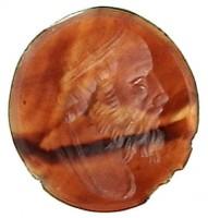 Corniola con busto maschile panneggiato