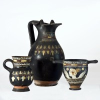 Gnathian jug, oinochoe and skyphos