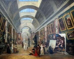 Hubert Robert, Projet d'aménagement de la Grande Galerie du Louvre, vers 1796. Museo del Louvre, Parigi.