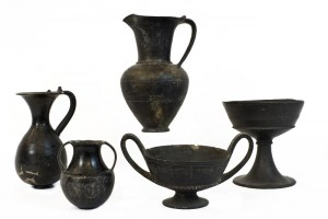 Group of thin-walled pots (bucchero sottile)