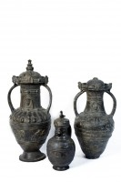 Group of heavy bucchero pots