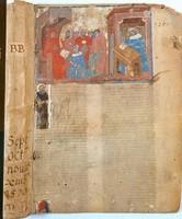 Maestro del B.18, Pagina miniata dalla novella Super Decretalibus di Giovanni d' Andrea, acquisizione, 2002, Museo Civico Medievale