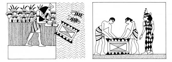 Seth getta la cassa nel Nilo; Iside trova la cassa con il corpo di Osiride.