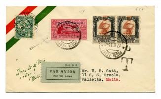 Lettera spedita da Tripoli (Libia) e diretta a La Valletta (Malta),