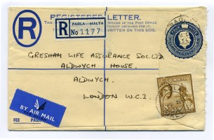 Lettera raccomandata spedita per posta aerea da Paola (Malta) e diretta a Aldwych, Londra
