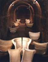 Hall of fumes Hoffmann kiln with molds for domestic use from Società Laterizi of Imola