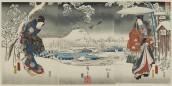 Utagawa Hiroshige e Utagawa Kunisada I Veduta con la neve 1853 trittico di ōban 357 x 722 mm  silografia policroma Museum of Fine Arts, Boston - Gift of Miss Lucy T. Aldrich