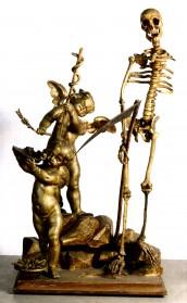 Ambito di Silvestro Giannotti, Statua con la Morte, legno scolpito e dorato, proveniente dalla farmacia dell'Ospedale della Morte