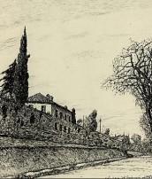 Tratto delle mura di Bologna con Casa Carducci in un disegno a china di Venturino Venturini (1901)