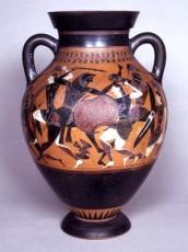 Anfora a figure nere con lotta tra Eracle e le Amazzoni