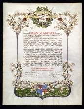 Gratulatoria dello Studio di Bologna celebrante il 40° anno di insegnamento di Carducci