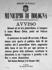 Manifesto dell\'inaugurazione del Museo il 25 settembre 1881