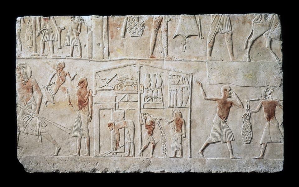 lastra dalla tomba di Horemheb, XVIII dinastia. Museo Civico Archeologico di Bologna
