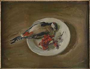 Mario Pozzati, Il pettirosso, 1943. Dipinto ad olio su cartone.