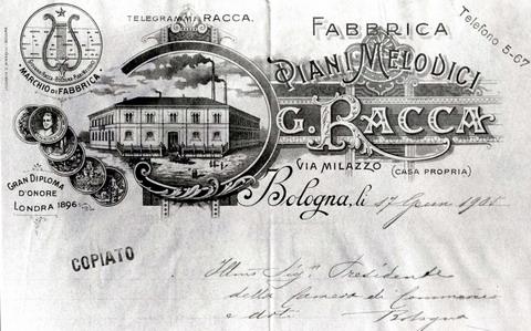 C. Ghirardini, THE PREMIATA FABBRICA DI PIANI MELODICI GIOVANNI RACCA