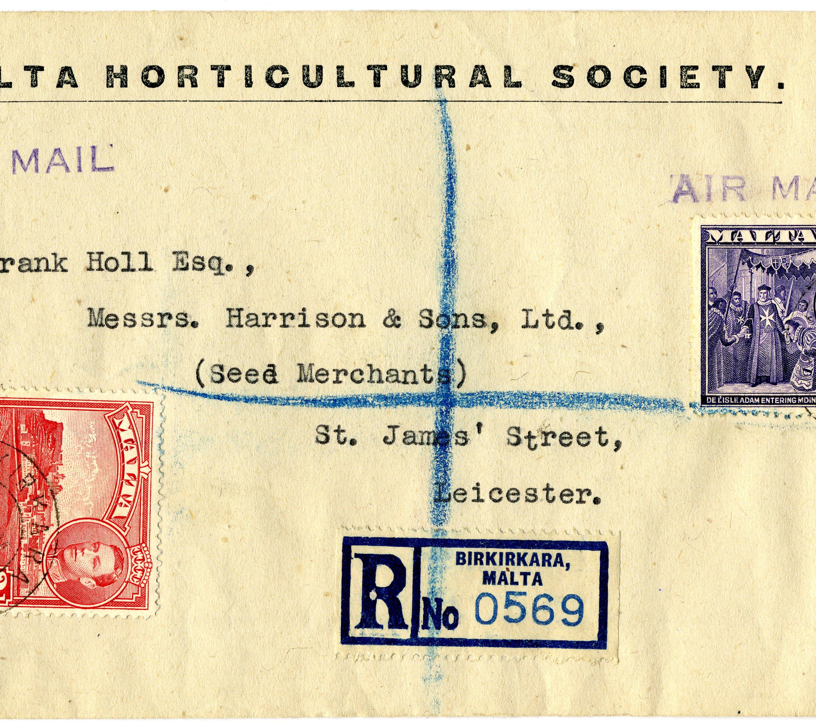 Lettera raccomandata spedita da Birkirkara (Malta) e diretta a Leicester (Gran Bretagna), 30 Gennaio 1947